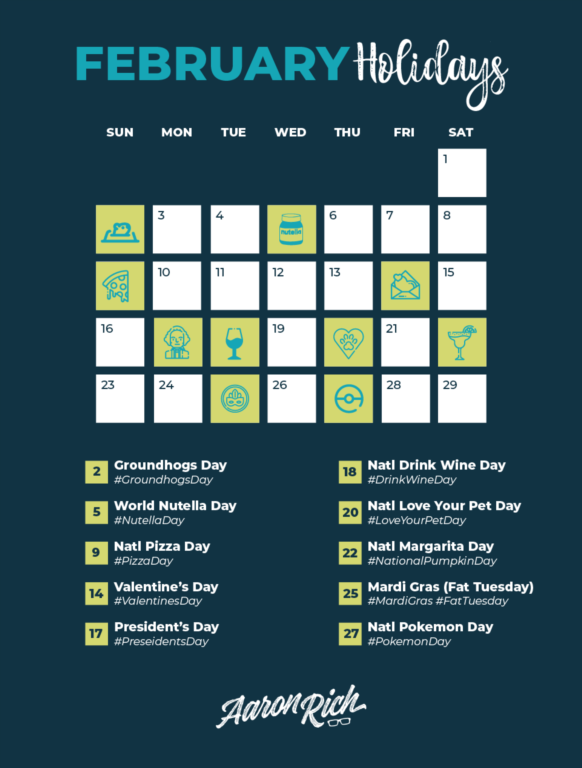 February 2020 Hashtag Holidays Calendar for Social Media & Digital Marketing Content Creation