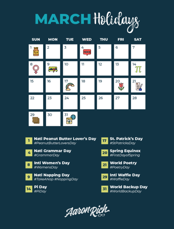 March 2020 Hashtag Holidays Calendar for Social Media & Digital Marketing Content Creation